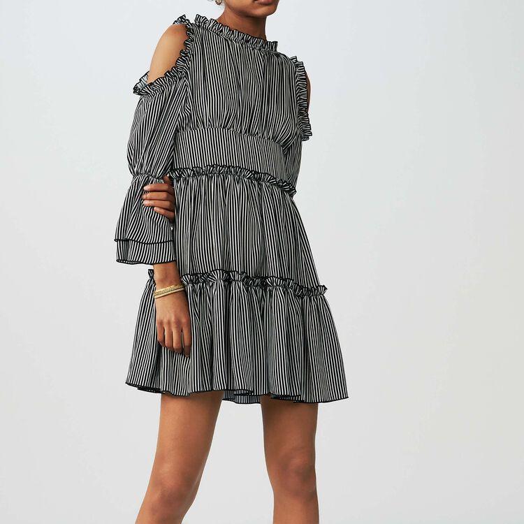 Vestido de rayas con hombros : Vestidos color Rayas