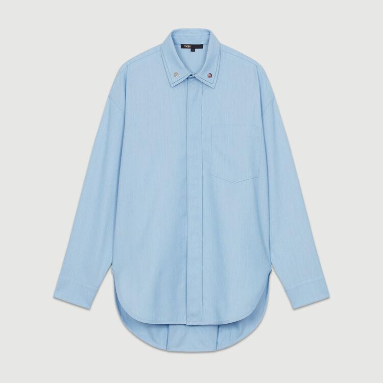 Camisa oversize cuello doble : Camisas color Azul Celeste