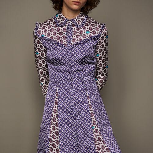 Vestido de seda con mezcla de estampados : Vestidos color IMPRIME
