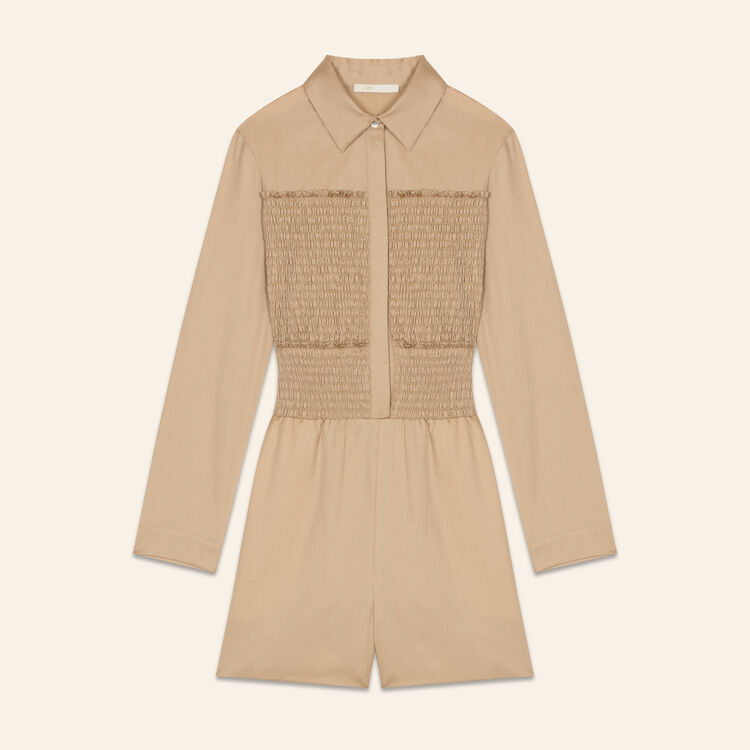 Mono-short de algodón fruncido : Faldas y shorts color BEIGE SABLE