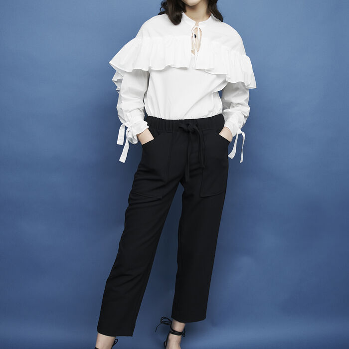 Pantalón ancho de crepé : Pantalones color Azul Marino