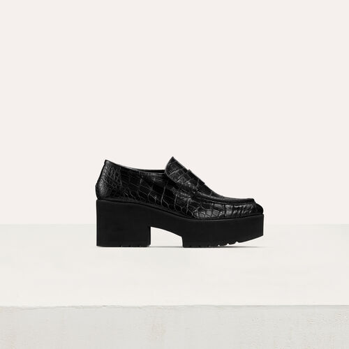 Mocasines de cuero efecto croco : Office girl color Negro