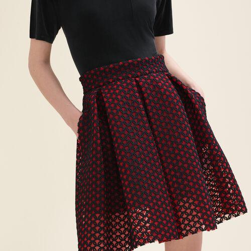 Falda de patinadora guipur contracolado : Faldas y shorts color Rojo