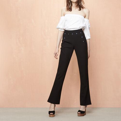 Pantalón de crepé con puente : Ver todo color Negro