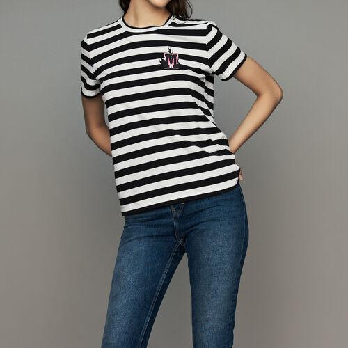 Camiseta de algodón rayada con escudo fbcf753f00be