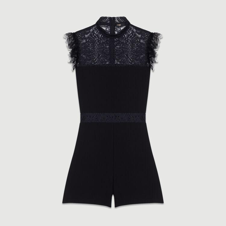 Mono short con encaje : Prêt-à-porter color Negro