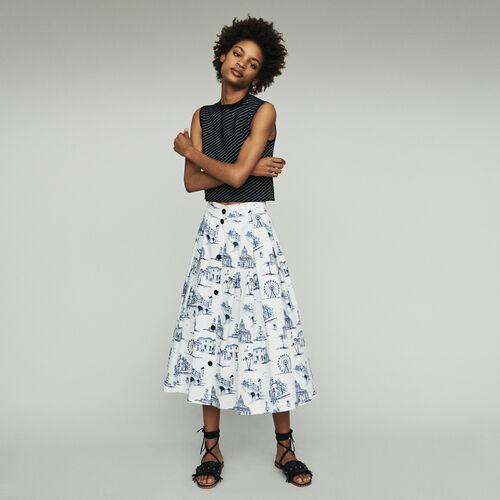 Falda midi estampado Paris : Faldas y shorts color Crudo