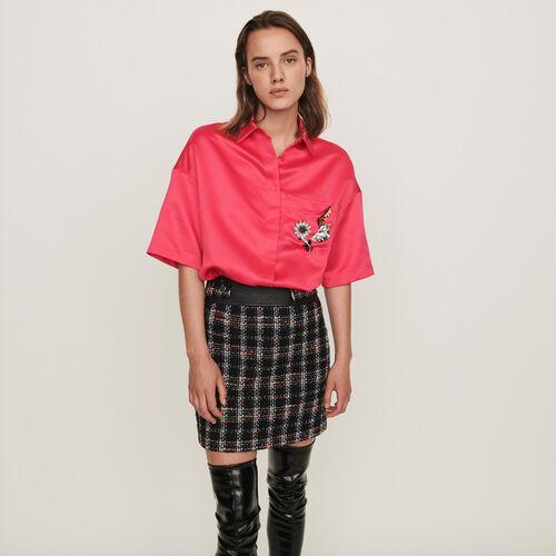 Blusa de raso con joya en el bolsillo : Colección invierno color Rosa