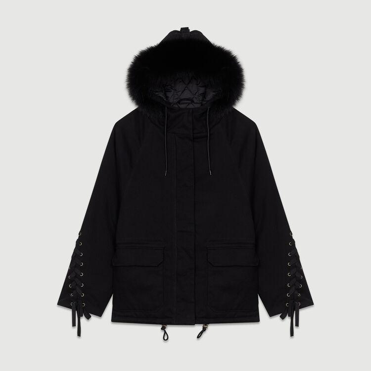 Parka con capucha y cordón : Abrigos color Negro