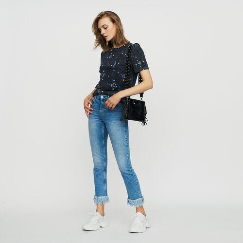 Vaquero recto con flecos : Jeans color Denim