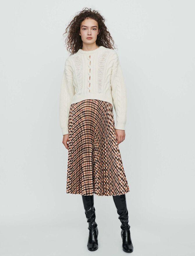 Falda de cuadros plisada elástica -  - MAJE