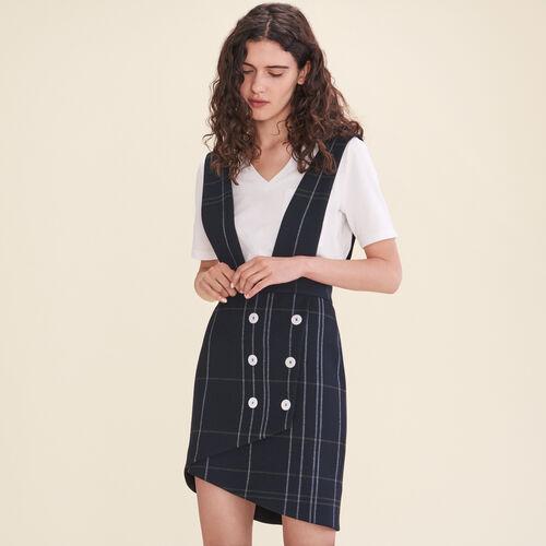 Falda de tartán con tirantes : Faldas y shorts color Azul Marino