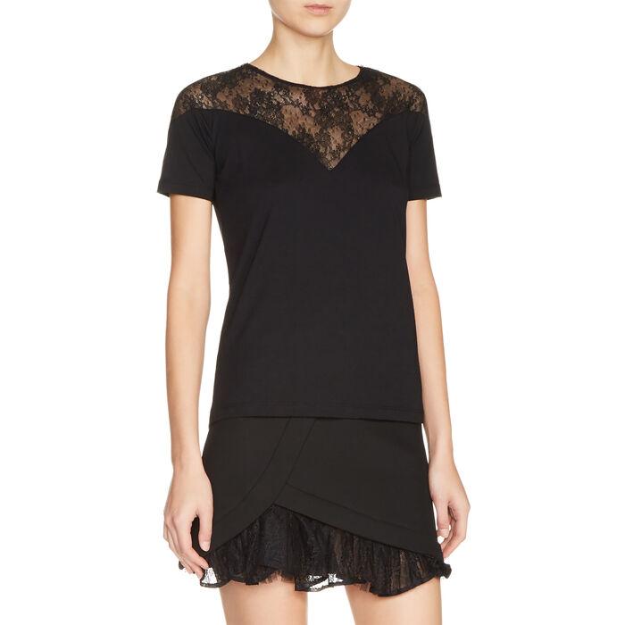 Top de doble género con encaje : T-shirts color Negro
