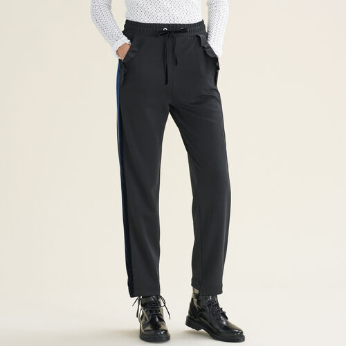 Pantalón recto estilo chándal : -40% color Negro