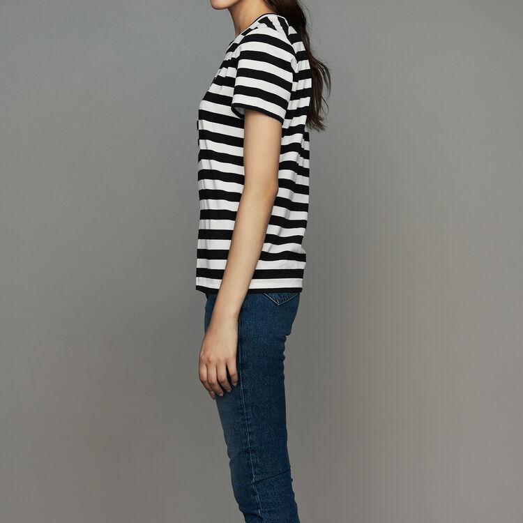 Camiseta de algodón rayada con escudo : T-Shirts color Rayas