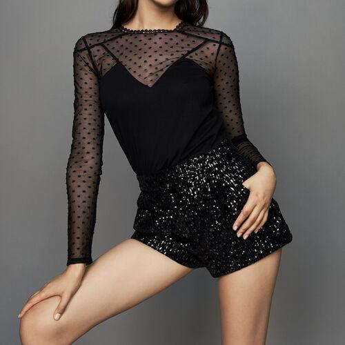 Short con lentejuelas : Faldas y shorts color Negro