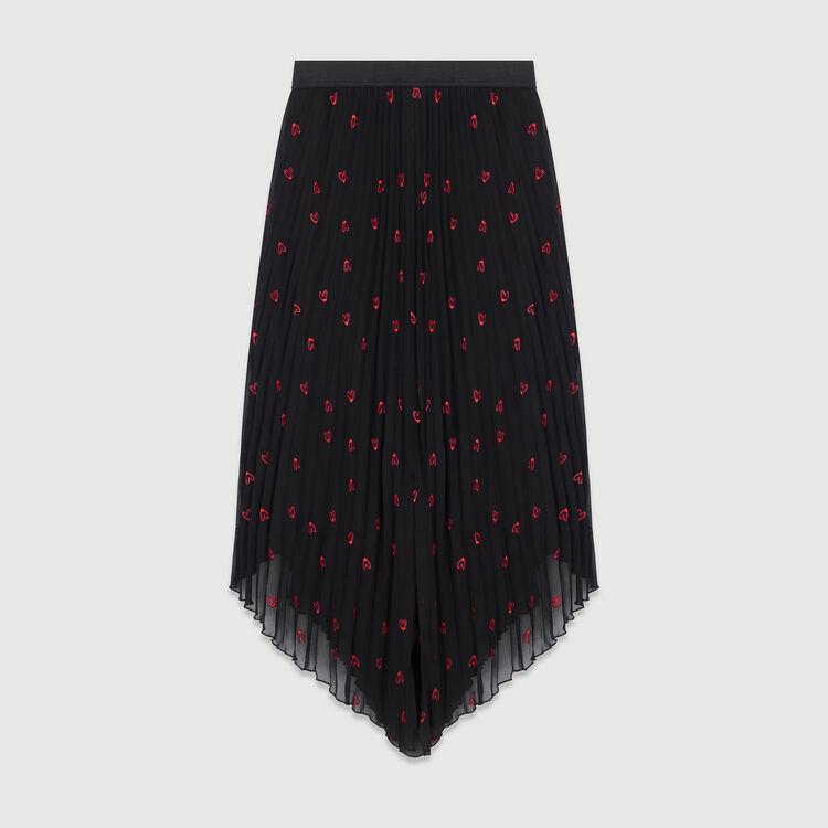 Falda larga plisada con bordados : Faldas y shorts color NEGRO