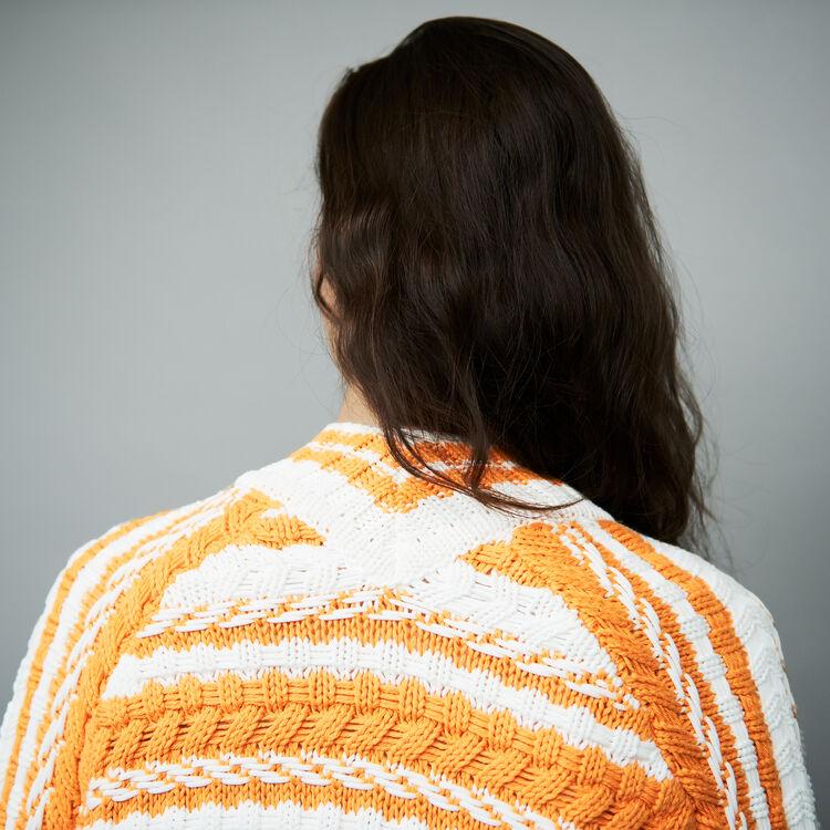 Cárdigan voersize de punto bicolor : Malla color Multicolor