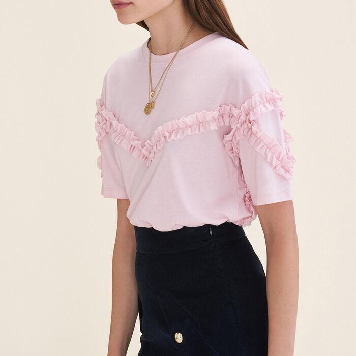 Camiseta con detalle de volante : T-shirts color Rosa