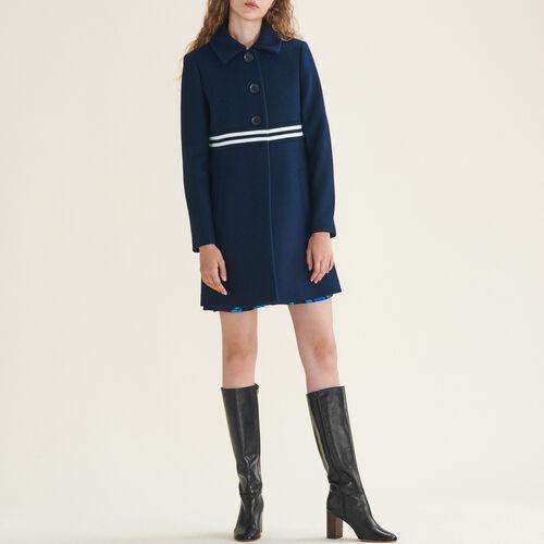 Abrigo recto de lana y cachemira : Abrigos & Cazadoras color Azul Marino