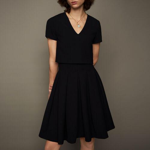 Vestido corola efecto trompe l'œil : Vestidos color Negro