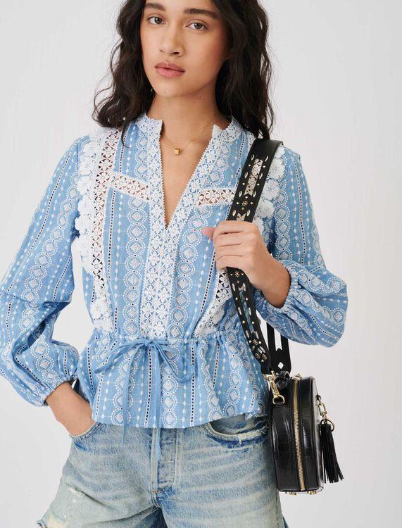 Blusa con tiras en contraste - Tops y Camisas - MAJE