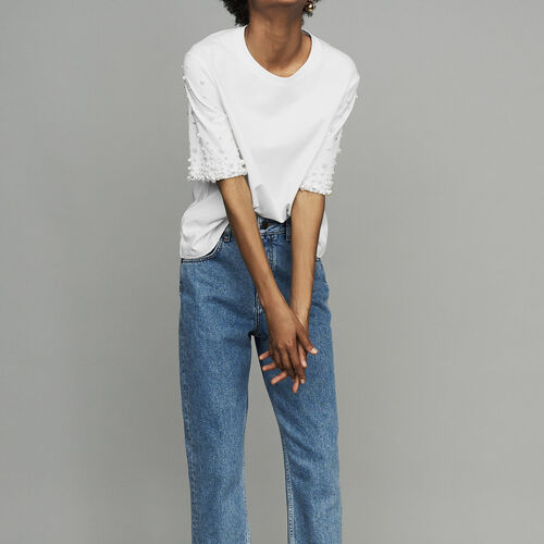 Camiseta de algodón con perlas : Prêt-à-porter color Negro