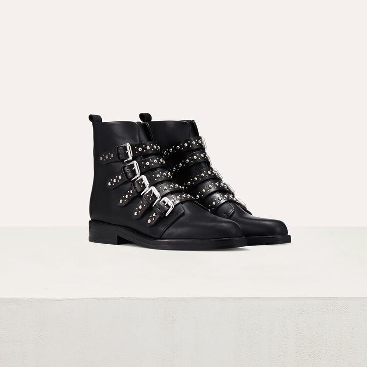 Botín de piel con tachuelas : Zapatos color Negro