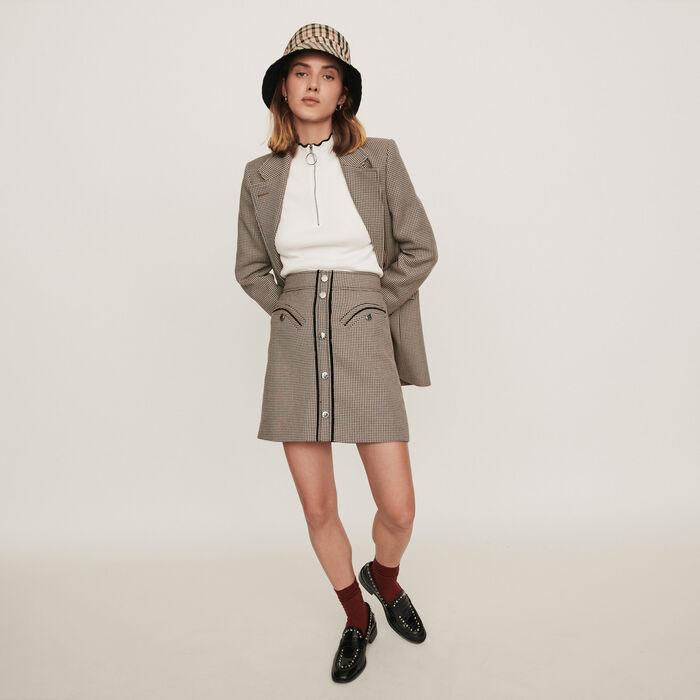 Falda de cuadros recta : Faldas y shorts color Camel