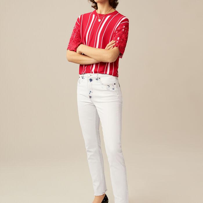 Jean recto con detalles contrastados : Jeans color Blanco
