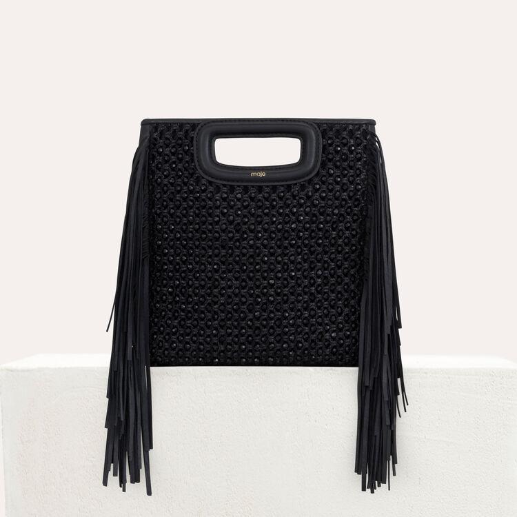 Bolso M en rafia trenzada y perlas : Bolsos M color Negro