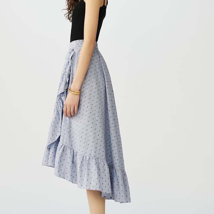 Falda larga de rayas con volantes : Faldas y shorts color Rayas
