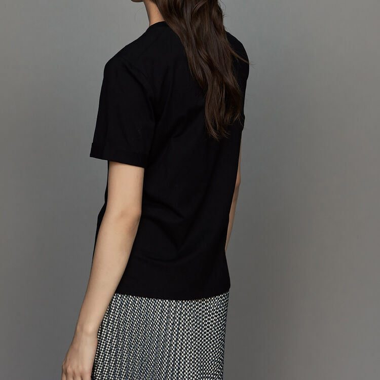 Camiseta de algodón con bordado floral : T-Shirts color Negro