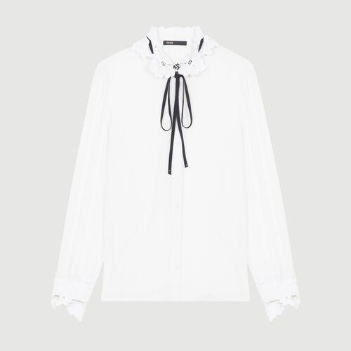 Camisa con detalles de guipur : Camisas color Blanco
