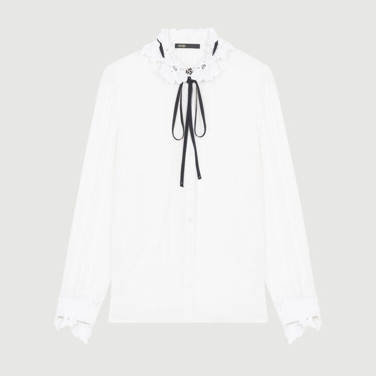 Camisa con detalles de guipur : Tartan color Blanco