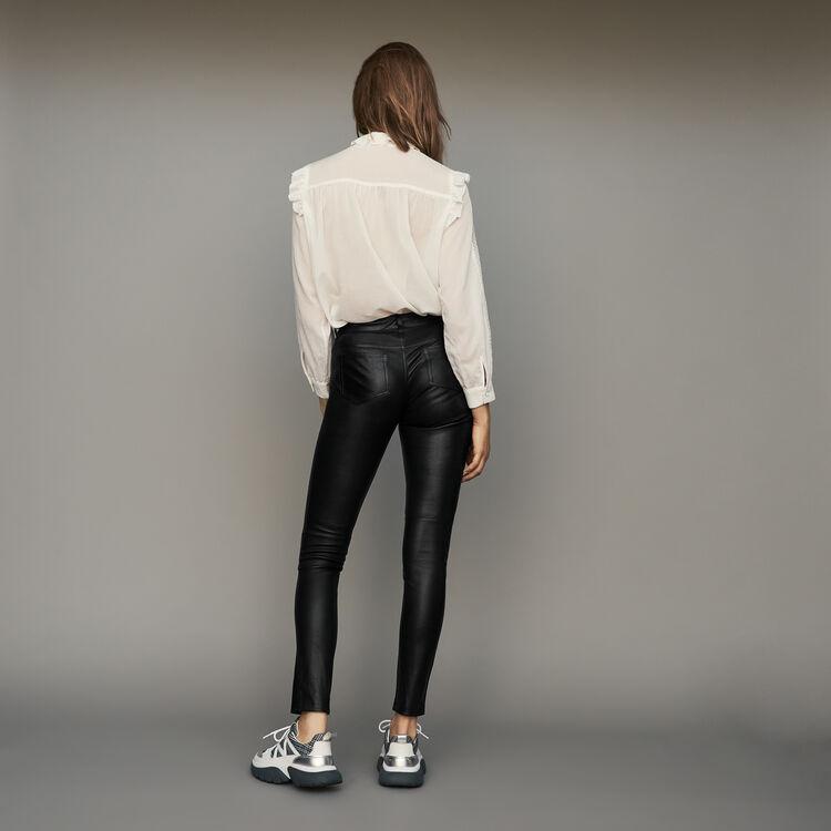 Pantalón pitillo de cuero de cordero : Pantalones color Negro