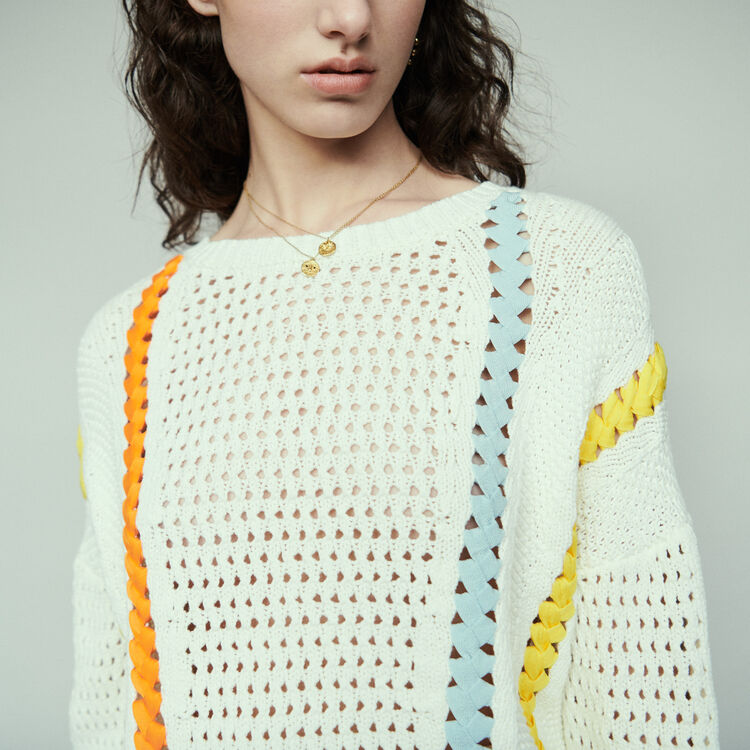 Jersey de punto fantasía con lazo : Jerseys y cárdigans color Ecru