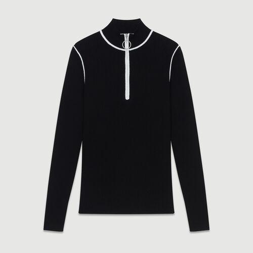 Jersey cuello caminero de punto : Malla color Negro