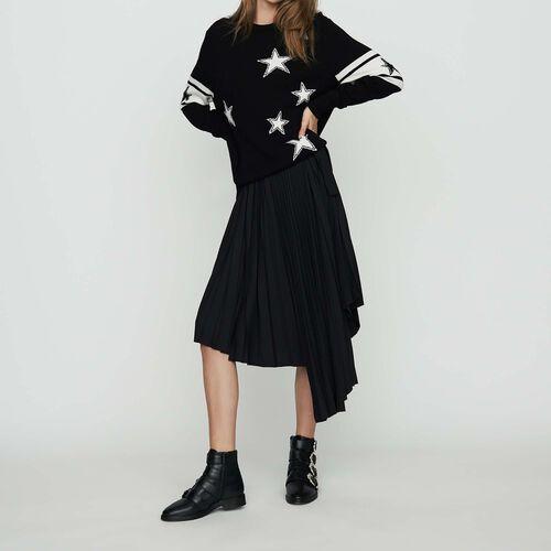 Jersey oversize de punto bicolor : Prêt-à-porter color Negro