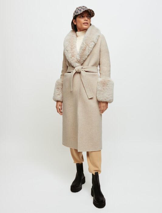 Abrigo de doble faz y efecto de piel : Abrigos color Crudo