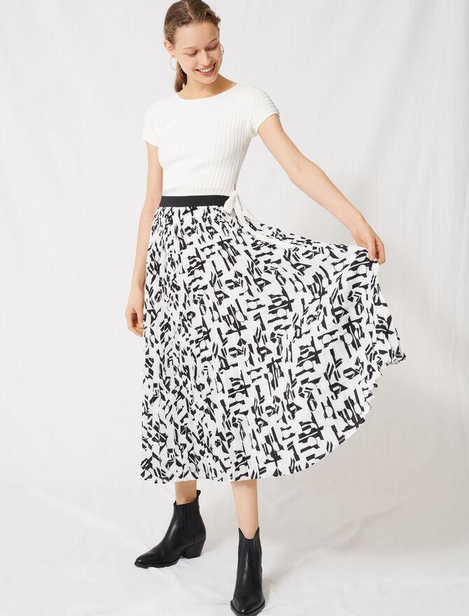 Falda plisada con estampado arty - Faldas y shorts - MAJE