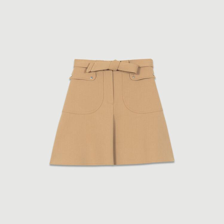 Falda con cinturón para anudar : Faldas y shorts color Camel
