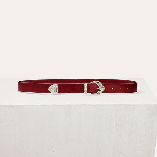 Cinturón de piel con hebilla festoneada : Accesorios color Burdeos