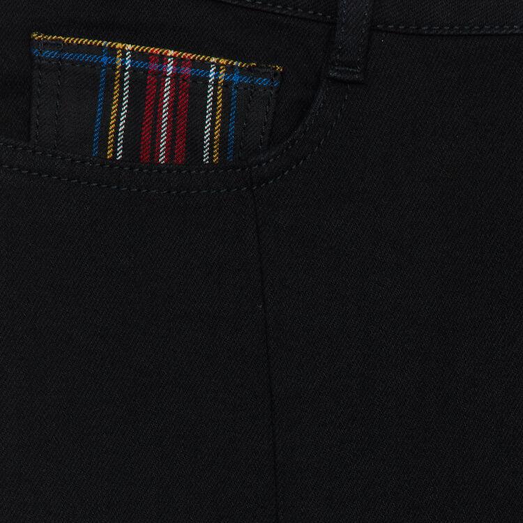 Jean recto con detalles tartan : Jeans color Negro