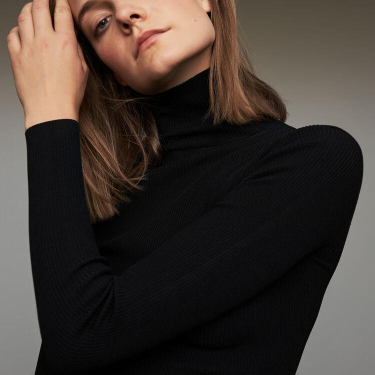 Jersey calcetín con cuello alto : Malla color Negro