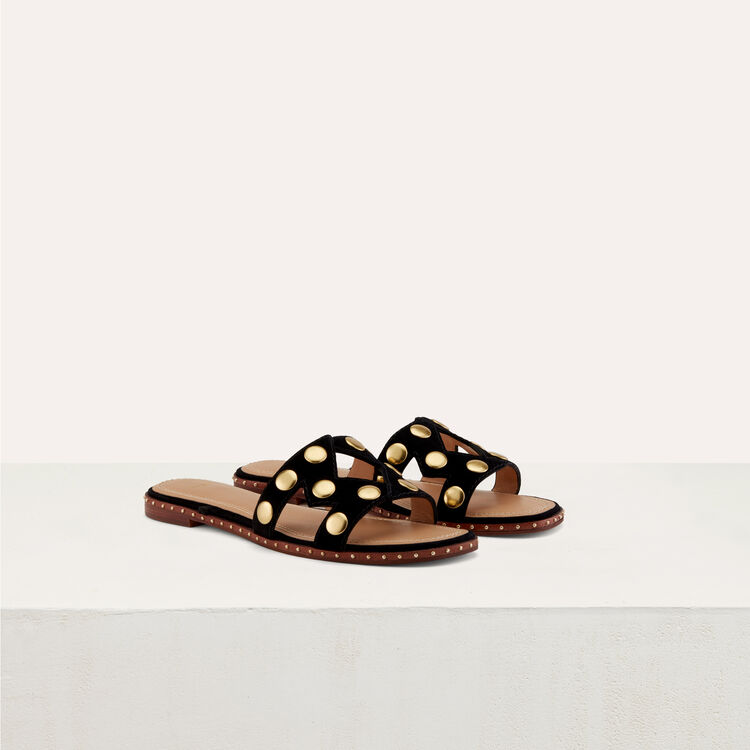 Sandalias planas con tachuelas : Zapatos color Negro