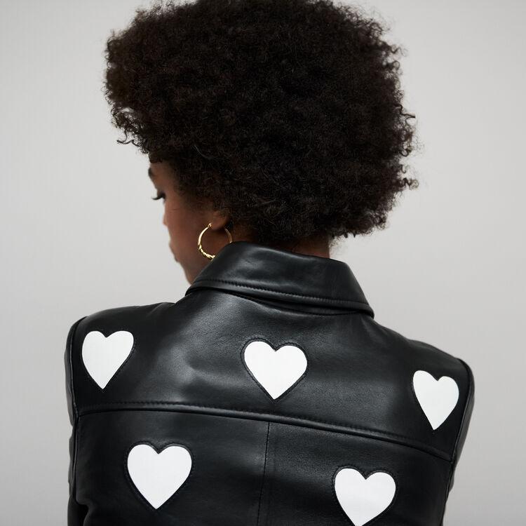 Chaqueta corta de cuero con corazones : Cazadoras color Negro