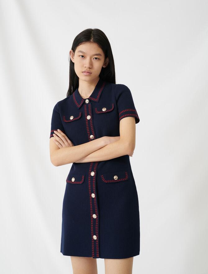 Vestido de punto pespuntes resaltados - Vestidos - MAJE