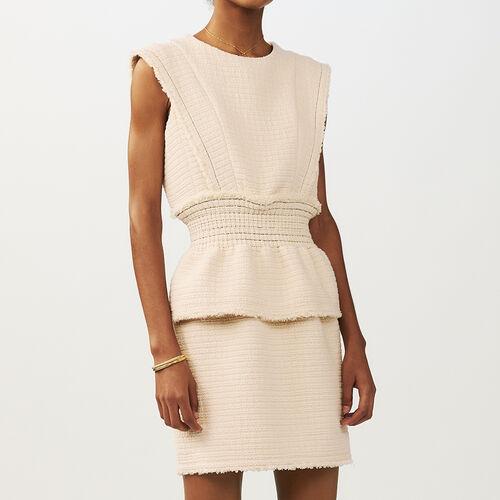 Sleeveless dress : Vestidos color Crudo