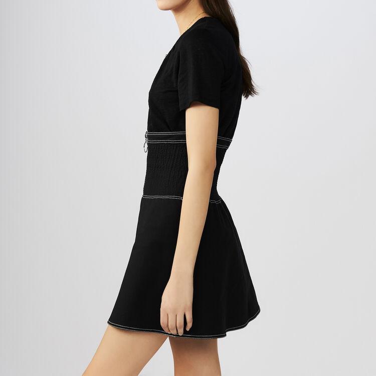 Camisata con cuello de ganchillo : T-Shirts color Negro